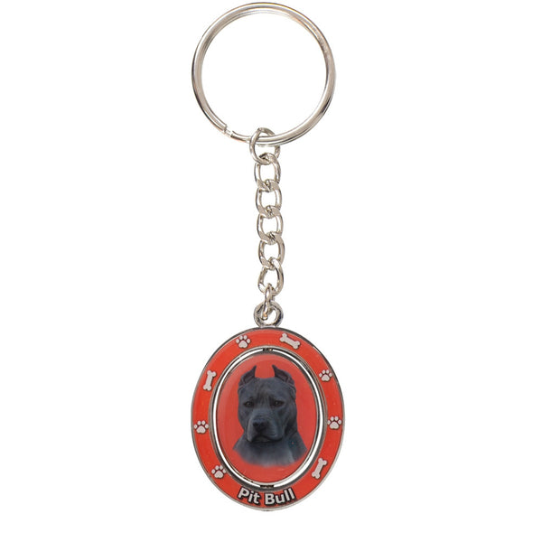 Red Pit Bull Portrait Oval Metal Keychain