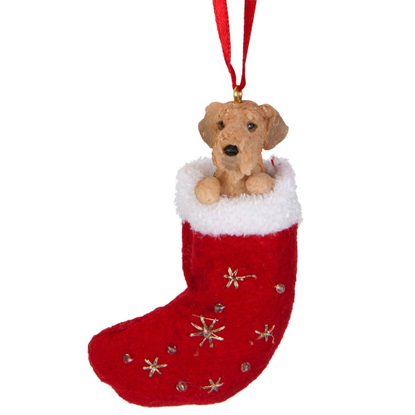 Airedale in Stocking Christmas Ornament