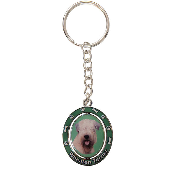 Soft Coated Wheaten Terrier Portrait Oval Metal Keychain