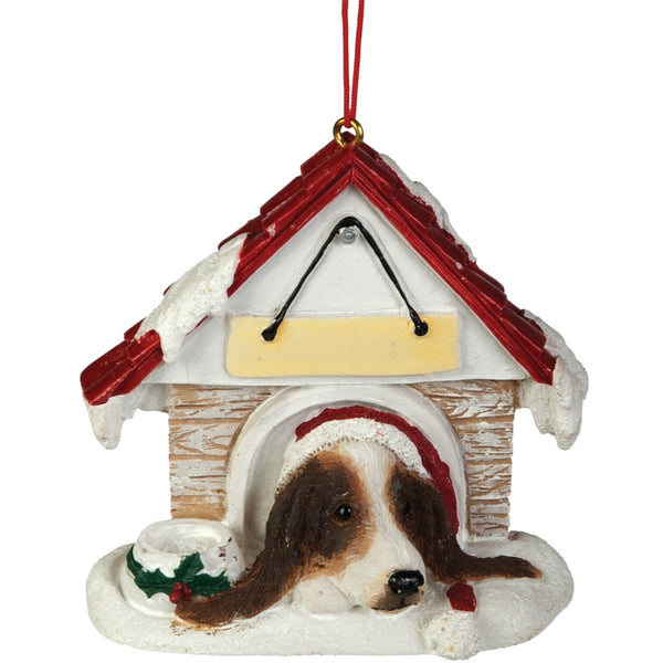 Basset Hound in Dog House Christmas Ornament