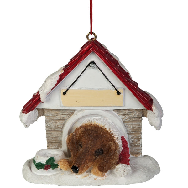 Tan Dachshund in Dog House Christmas Ornament