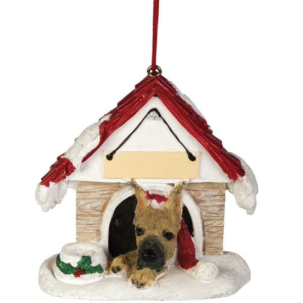 Great Dane in Dog House Christmas Ornament