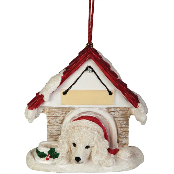 White Poodle in Dog House Christmas Ornament