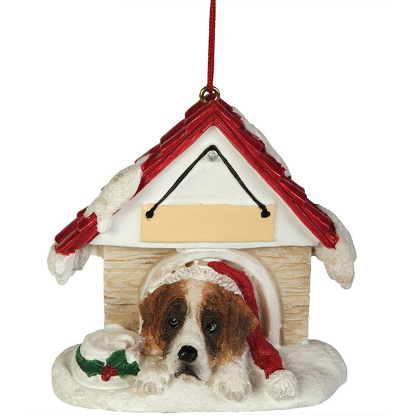 Saint Bernard in Dog House Christmas Ornament