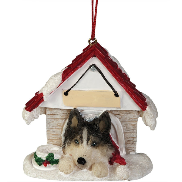 Siberian Husky in Dog House Christmas Ornament