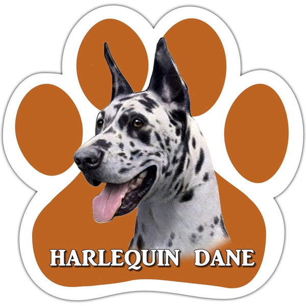 Harlequin Dane Paw Shaped Car Magnet