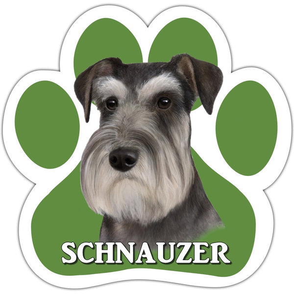 Schnauzer Paw Shaped Car Magnet