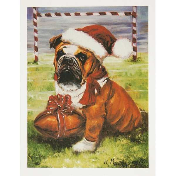 6 Bulldog With Football Boxed Christmas Greeting Cards