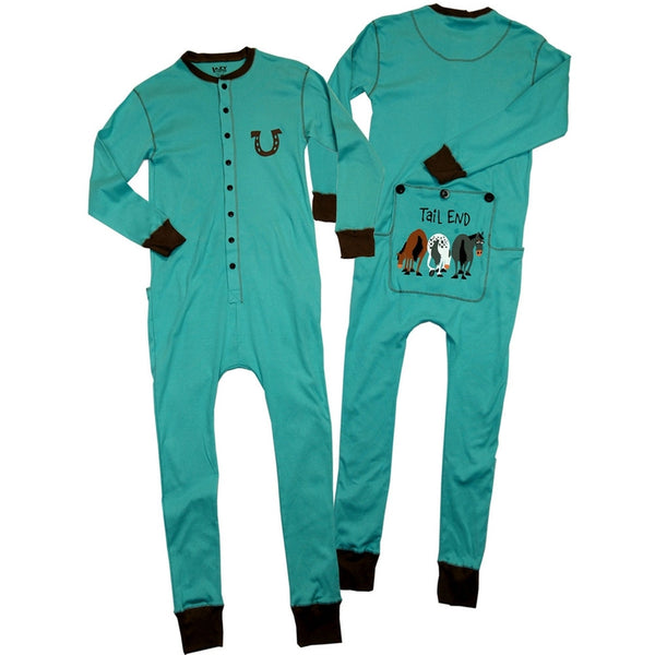 Horse Tail End Blue Flapjack Union Suit
