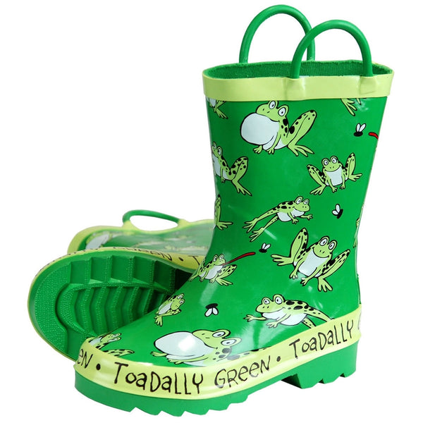 Frog Toadally Green Toddler Rain Boots