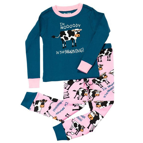 Cow Moody in the Morning Toddler Long Sleeve Pajama Set