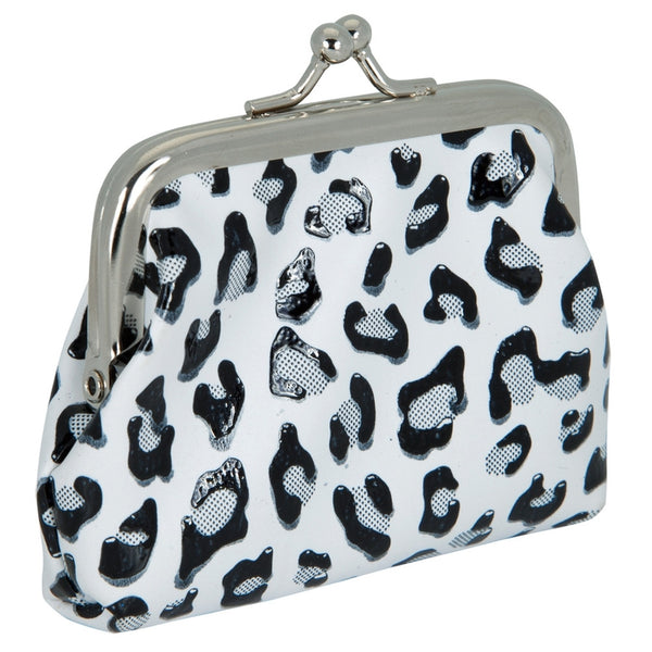 White Leopard Print Coin Purse