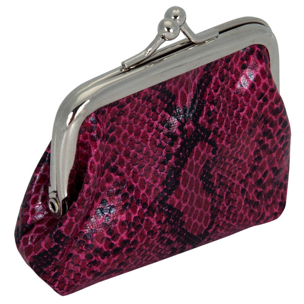 Fuchsia Faux Snakeskin Coin Purse