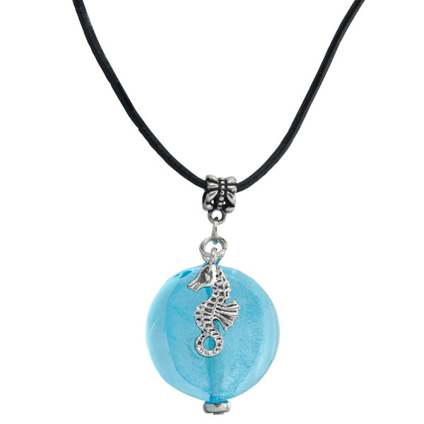 Blue Glass Bead Necklace with Seahorse
