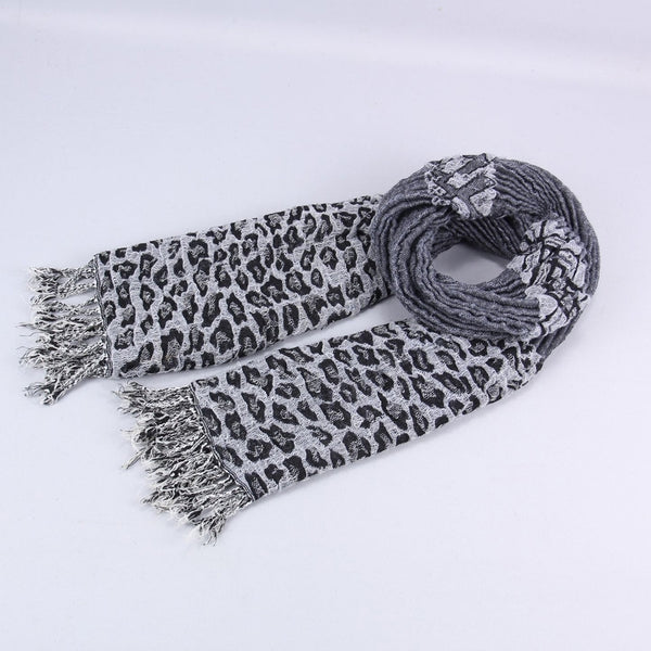 Gray Leopard Print Scarf