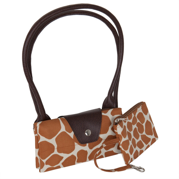 Giraffe Print Fold Up Tote Bag With Removable Pouch