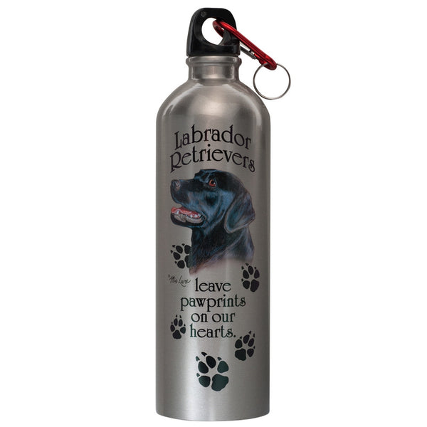 Black Lab On Heart Stainless Water Bottle