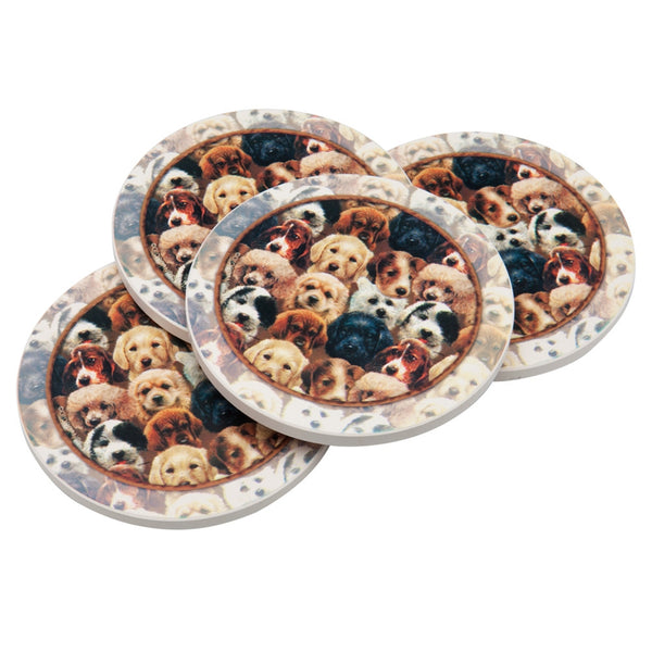 Puppies Sitting Coasters Set