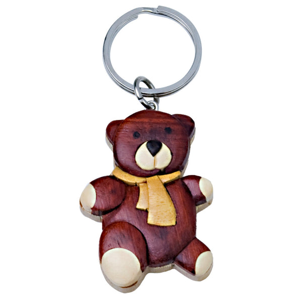 Teddy Bear Wooden Keychain