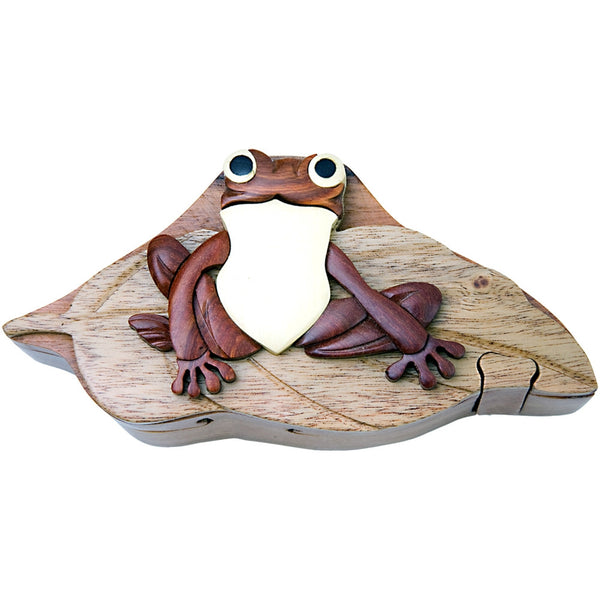 Frog on Lily Pad Wooden Puzzle Box
