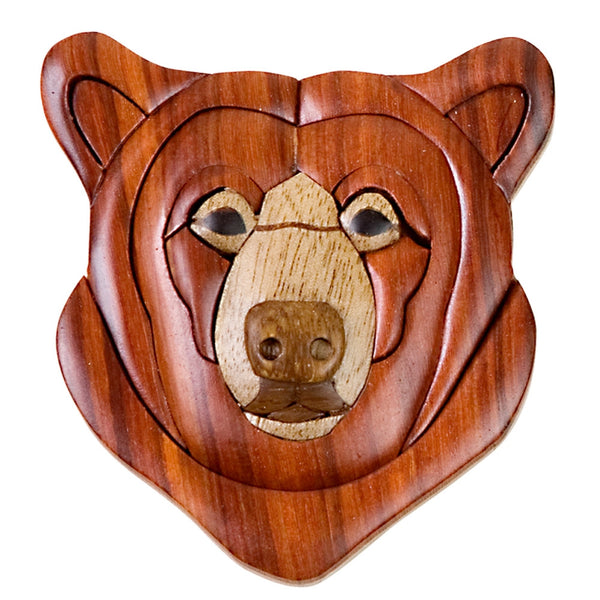Black Bear Head Wooden Magnet