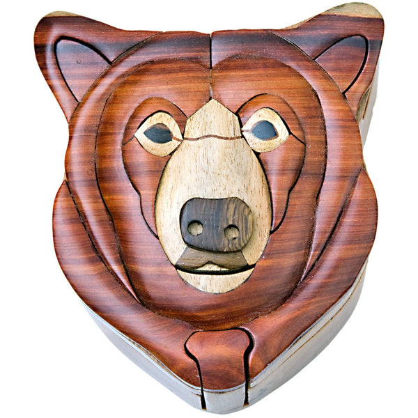 Bear Head Wooden Puzzle Box