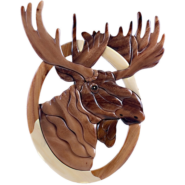 Oval Moose Head Wooden Wall Hanging