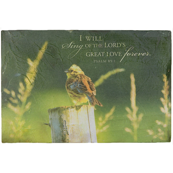 A Songbird On A Fencepost With Psalm 89:1 Textured Wall Hanging