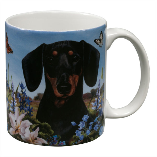 Black Dachshund Garden Party Fun Mug