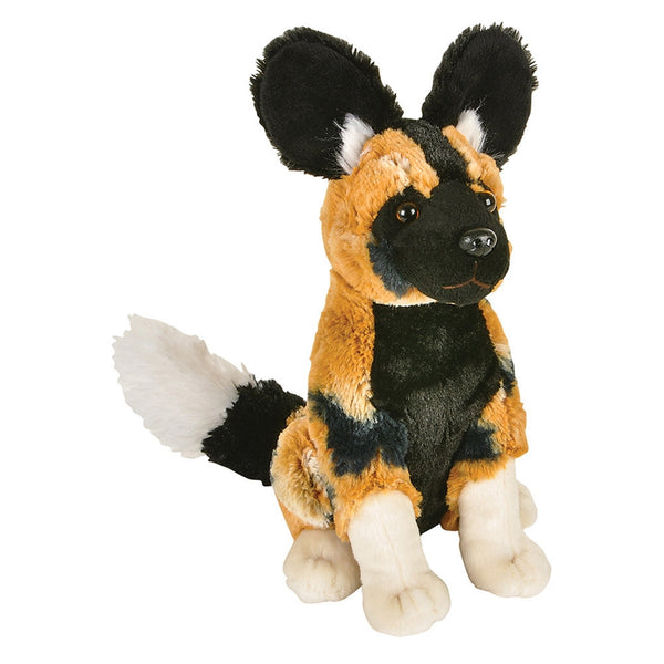 African Wild Dog Sitting Plush Toy