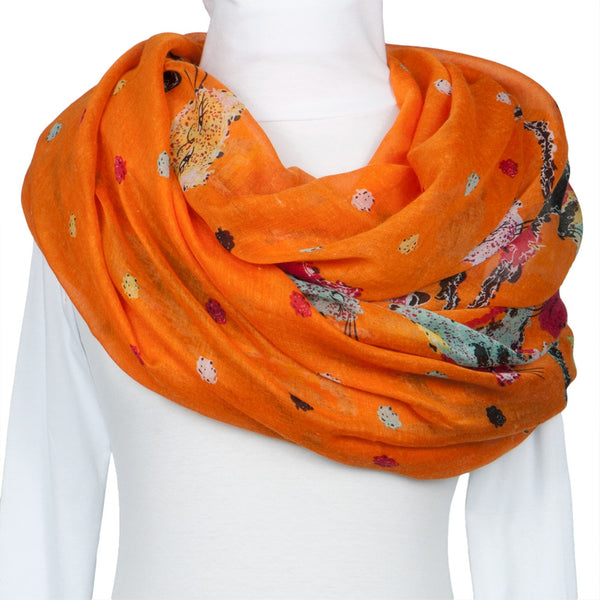 Colorful Felines Orange Scarf