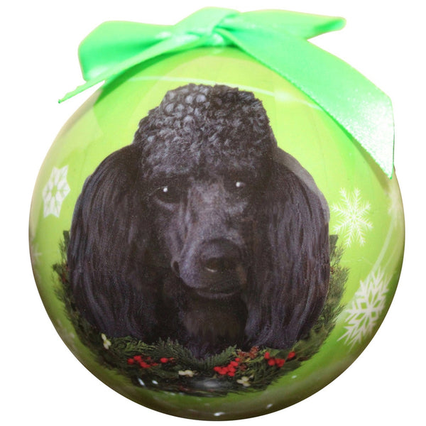 Black Poodle Christmas Ball Ornament