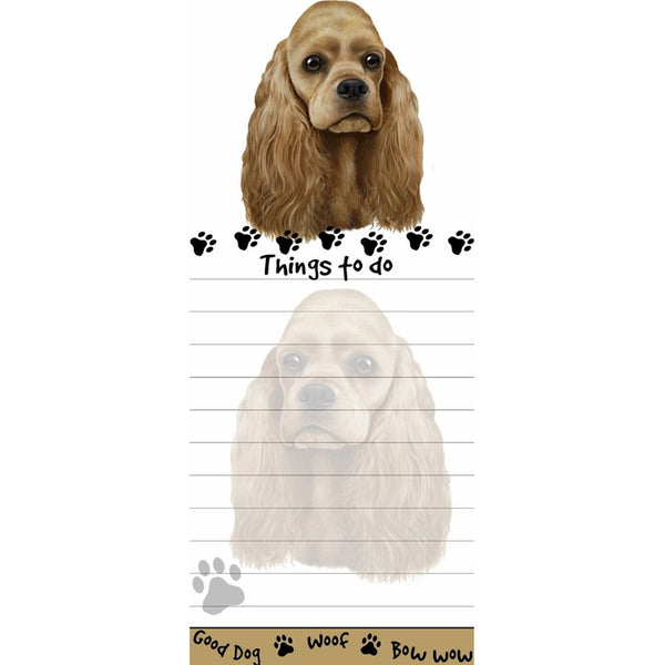 Blonde Cocker Spaniel Tall Magnetic Notepad
