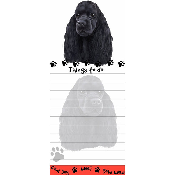 Black Cocker Spaniel Tall Magnetic Notepad