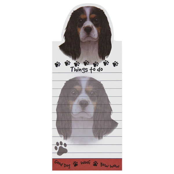 Tri-colored King Charles Cavalier Tall Magnetic Notepad
