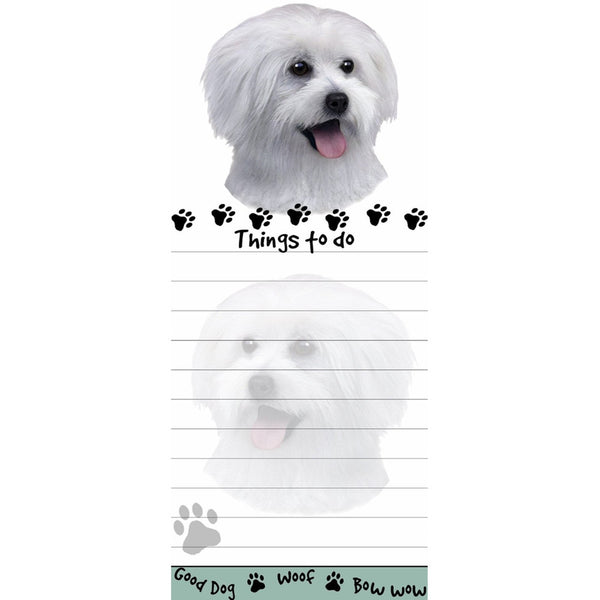 Maltese Puppy Tall Magnetic Notepad