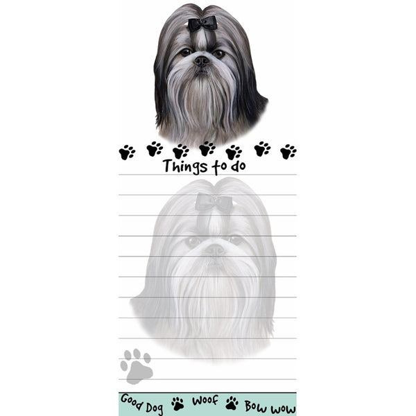 Black And White Shih Tzu Tall Magnetic Notepad