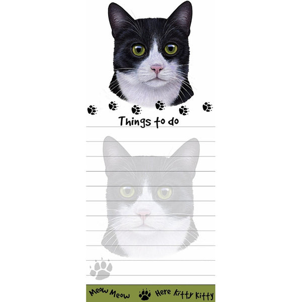 Black And White Cat Tall Magnetic Notepad