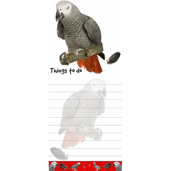 African Grey Parrot Tall Magnetic Notepad