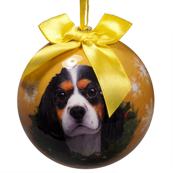 Tri-Color King Charles Cavalier Christmas Ball Ornament