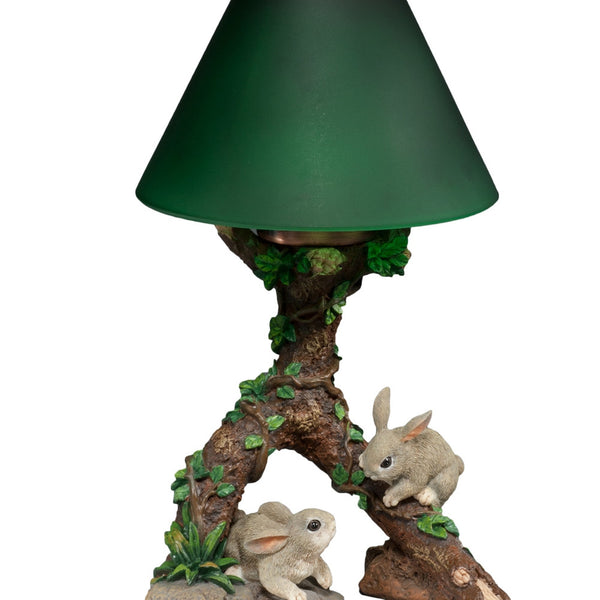 Cottontail Bunnies Frolicking Tealight Lamp