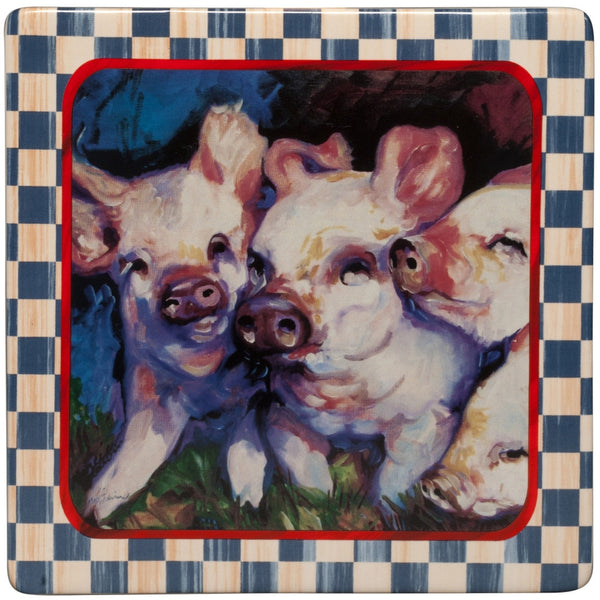Piglets Playing Framed Art Plaque