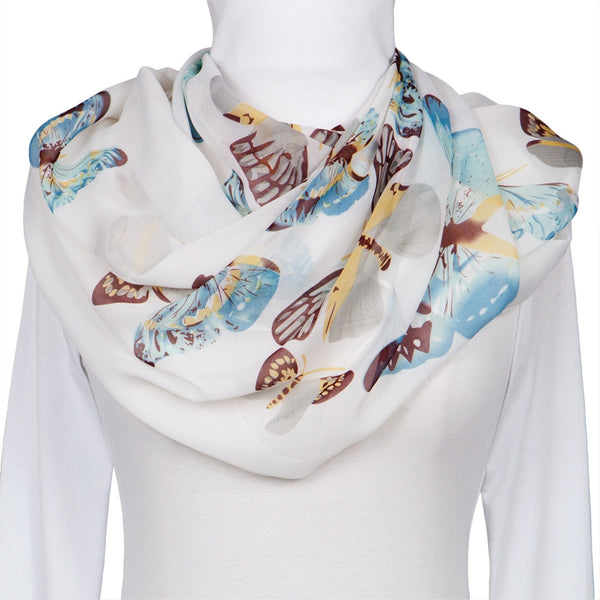 Whimsical Butterflies White Scarf
