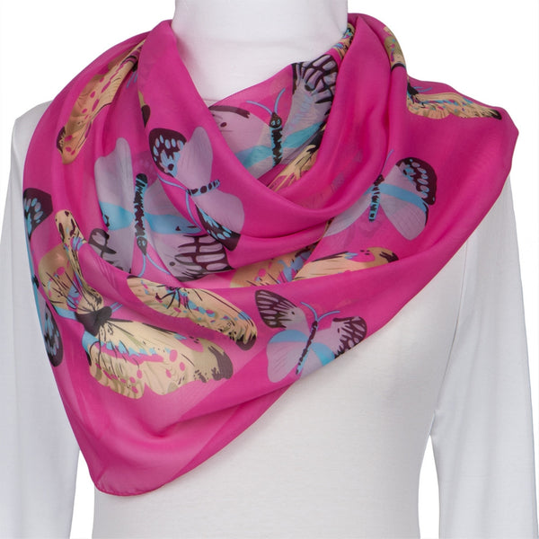 Whimsical Butterflies Dark Pink Scarf