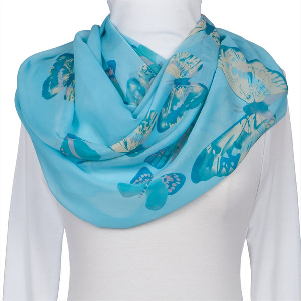Whimsical Butterflies Light Blue Scarf