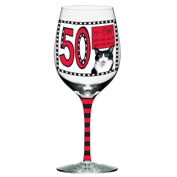 Me-OW 50 Years Wine Glass