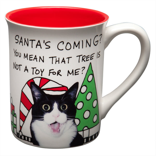 Santa's Coming Surprised Kitty Coffee Mug