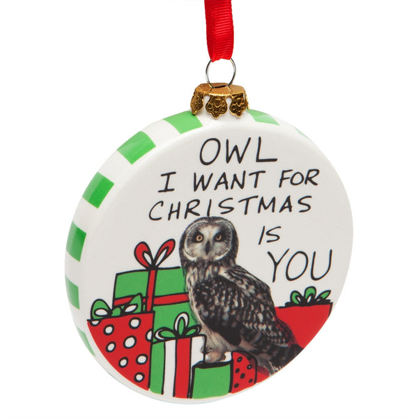 Owl I Want Christmas Ornament