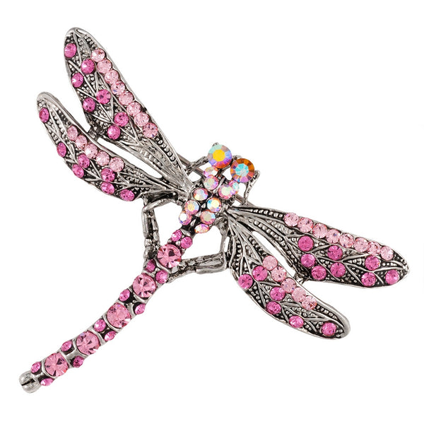 Pink Dragonfly Large Gemmed Body Brooch