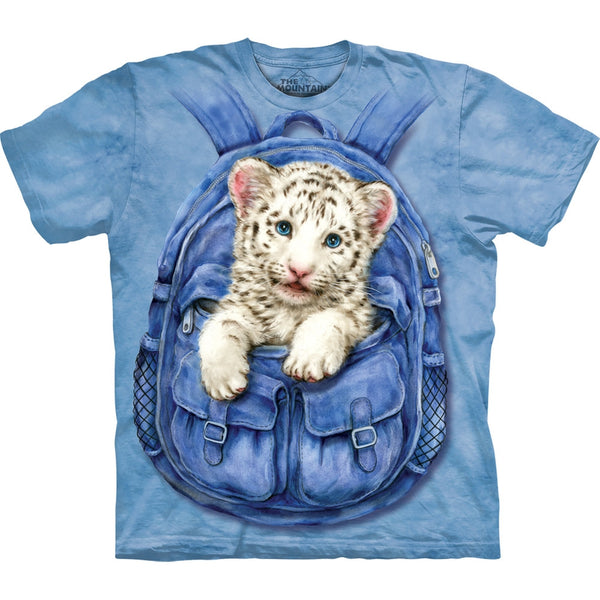 White Tiger Cub in Backpack Kids T-Shirt